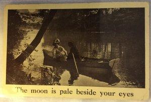 Vintage  Postcard Romantic Boat Ride in Moonlight Edwardian