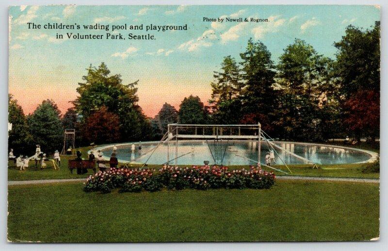 Seattle WA~Volunteer Park~Wading Pool & Playground~Girls on Teeter Totter~1914