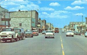 Burns OR Main Street Business District Old Cars Trucks Postcard