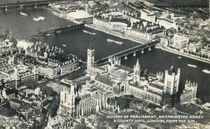 Postcard England London 1900's Aerial view Parliament Westminster County Hall