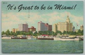 Miami Florida~Skyline Of City~Boat Harbor~Vintage Postcard