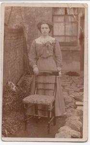 Young Edwardian Woman Outside Terrace RP PPC, By Baldwin Of Bath & Cheltenham