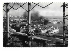 Italy Genoa Panorama Harbor Ships Boats Glossy Photo 4X6 Postcard