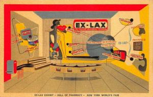 New York World's Fair EX-LAX Hall of Pharmacy Linen Postcard