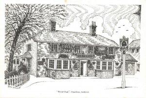 Art Sketch Postcard The Royal Oak Charlton Andover Hampshire Don Vincent AS1