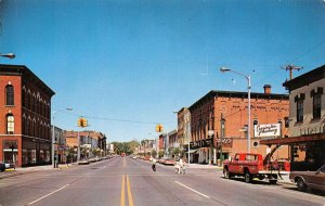 Michigan Avenue Looking West Tow Truck at Jefferson Marshall Michigan postcard