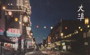Street , Chinatown at night , San Francisco , California , 50-60s