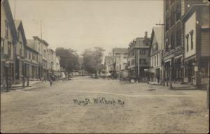 Winthrop ME Main St. c1910 Real Photo Postcard spg