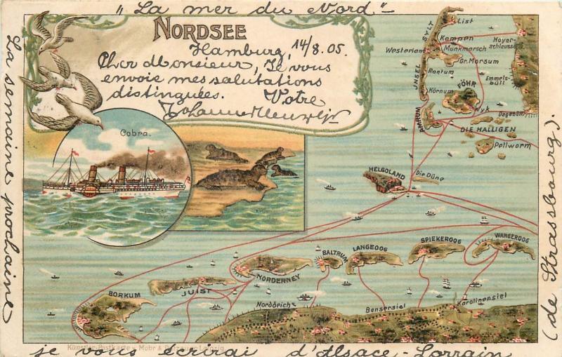 Map Of Germany 1900.Litho 1900 Postcard Germany Nordsee Islands Map Cobra Steamer Ship