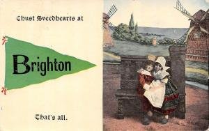 Chust Sweedhearts at Brighton Iowa~Dutch Children~Windmills~1913 Pennant PC