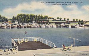 Municipal Marina and Boat Slips Clearwater Florida 1957 Curteich