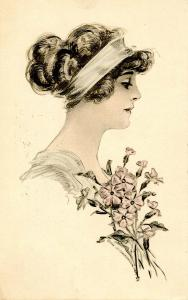 Fashion - Lady With Pale Blue Head Band, Pink Flowers