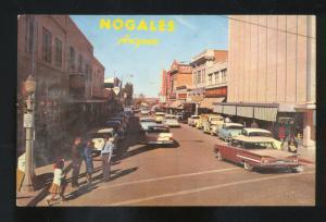 NOGALES ARIZONA DOWNTOWN STREET 1950's CARS VINTAGE POSTCARD 1959 CHEVY