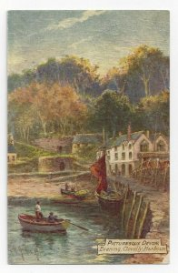 TUCK 7776, Picturesque DEVON, England, 1900-10s; Evening, Clovelly Harbour