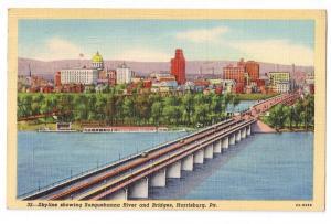Skyline Harrisburg PA Susquehanna River Bridge 1943 Linen