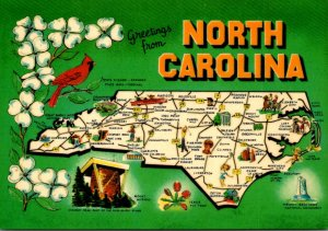 North Carolina Greetings With Map State Bird State Flower and More