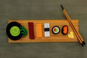 Japanese Long Sushi Lunch Dinner Tray Lego Childrens Toy Postcard
