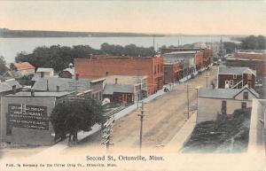 Ortonville Minnesota Second Street Scene Birdseye View Antique Postcard K103761