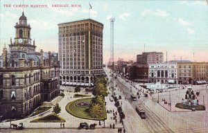 P1241 old unused postcard the campus martius, detroit michigan birds eyr view