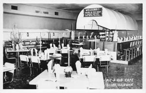 Globe Arizona~Pic-A-Rib Cafe~Covered Wagon Lunch Counter~Inside Diner~1950s RPPC