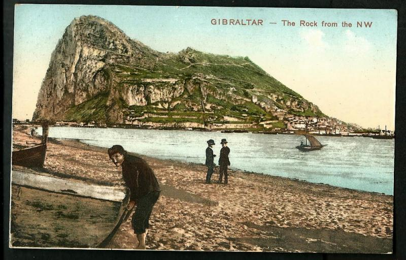 GIBRALTAR V.OLD POSTCARD U.P.U THE ROCK FROM THE NW