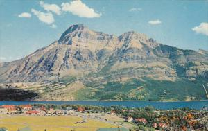 Canada Alberta Waterton Lakes Townsite Mount Vimy In Background