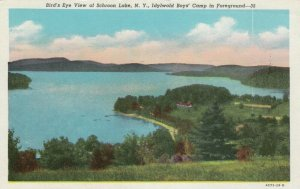 SCHROON LAKE, New York, 1910s; Birds Eye View, Idylwold Boys' Camp in Foreground