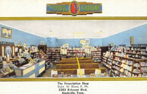 LP33 Nashville Tennessee Postcard Cotton Drug Store Prescription Shop