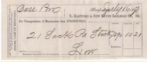 1870-71 Freight Receipt, HARTFORD & NEW HAVEN RAILROAD CO., Dr., Hartford, CT.