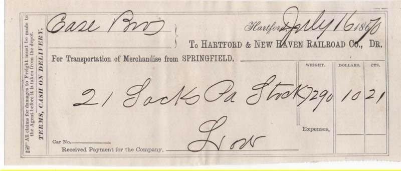 1870-71 Freight Receipt, HARTFORD & NEW HAVEN RAILROAD CO., Dr., Hartford, CT.