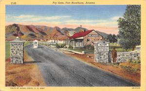 Fort Huachuca Arizona~Fry Gate Military Reservation~STOP~Guard Shack~1943 Linen