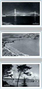 3 Postcards SAN FRANCISCO, California CA ~ GOLDEN GATE BRIDGE ca 1940s