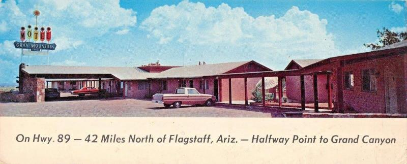 FLAGSTAFF AZ~GRAY MOUNTAIN MOTEL PANORAMIC VIEW POSTCARD 1969 PSTMK