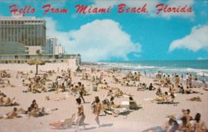 Florida Hello From Miami Beach Showing Hotels and Beach