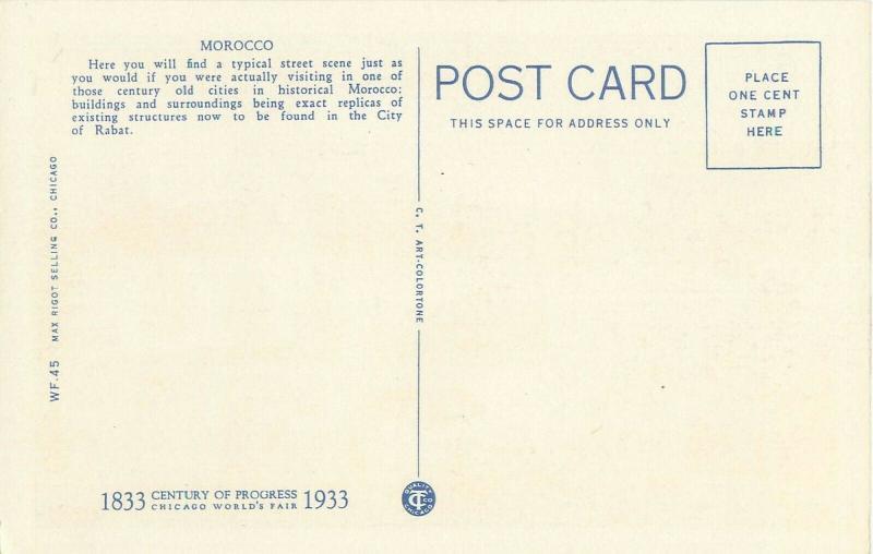 Chicago World's Fair Belgian Village Viewed Through Morocco 1933 Linen Postcard