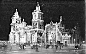 MEXICO CITY~CATEDRAL de NOCHE~REAL PHOTO  POSTCARD 1940s