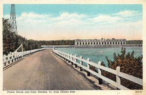 Keokuk Iowa~Power House & Dam on Mississippi (View from Illinois)~1940s Postcard