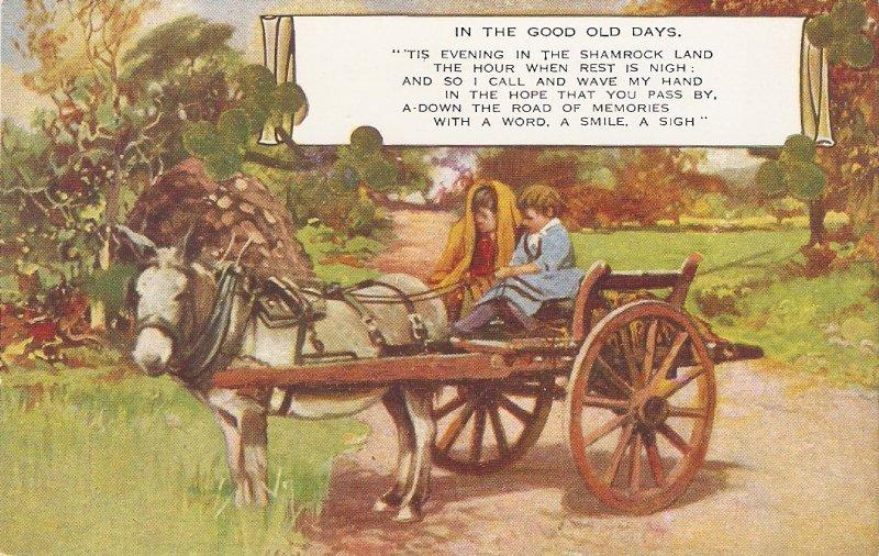 Children in Horse Cart. In the good old days Nice vintage Valentine postcard