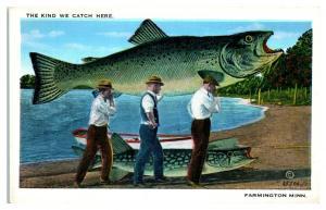 The Kind We Catch Here Exaggerated Fish, Farmington, MN Postcard *5E1