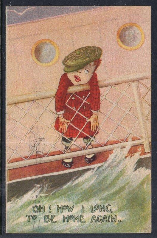 Boy on Deck Seasick Comic