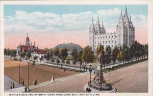Utah Salt Lake City Temple Block And Brigham Young Monument