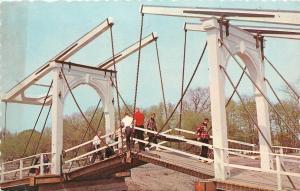 Holland Michigan~Dutch Bridge Windmill Island~Drawbridge Up~1950s Postcard