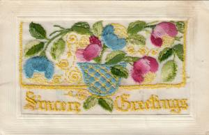 Hand Sewn, 1900-10s; Sincere Greetings, Pot of Tulips, Insert