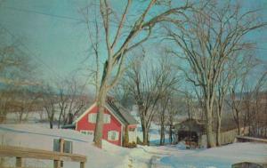 Bedells Bridge at Christmas Winter Connecticut River 1960s Postcard