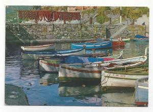 Italy Boats at Harbor Vintage 4X6 Postcard