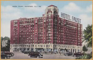 Rockford, ILL., Hotel Faust, 1930's Autos