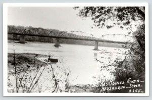 Keosauqua Iowa~Multi Span Bridge over Des Moines River~1950s RPPC