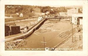Oregon City Oregon~Paper Mills on Willamette River~1946 Christian Postcard RPPC