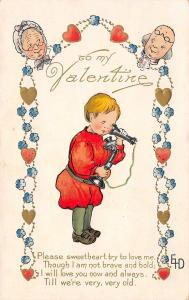 Ethel DeWeese Valentine~Boy on Candlestick Telephone~Grandma & Grandpa Faces~AMP