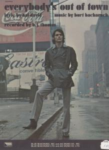 Everybodys Out Of Town Burt Bacharach 1970s Sheet Music